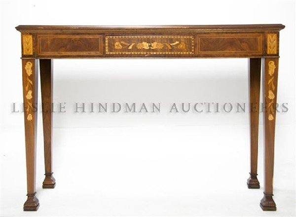 8: A Continental Marquetry Console Table, Height 33 1/4