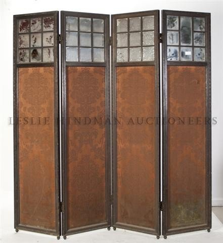 12: A Four Panel Mirror and Fabric Inset Floor Screen,