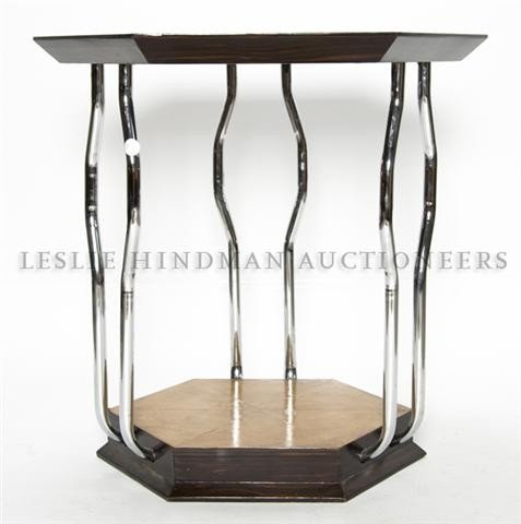 14: An Art Deco Parchment and Chrome Table, Height 28 i