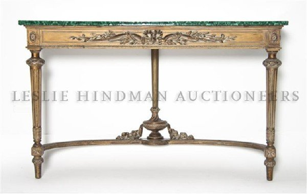 17: A Louis XVI Style Giltwood Console, Height 29 3/4 x