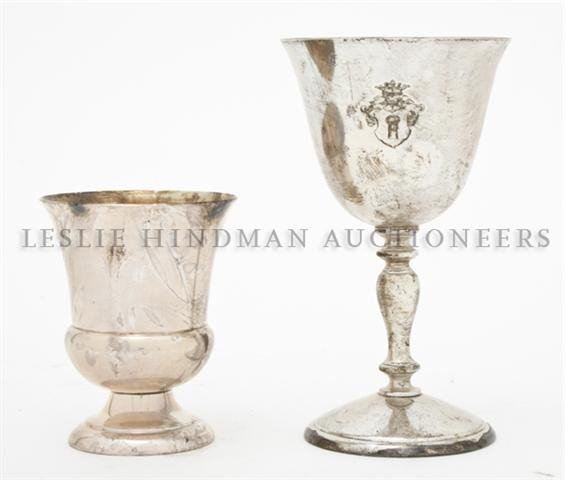 619: A Set of Silver Goblets, Height of tallest 5 inche