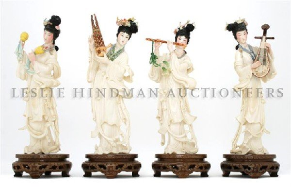 837: A Set of Four Polychrome Decorated Ivory Figures,