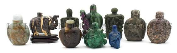 853 A Group of Ten Hardstone Snuff Bottles Height of