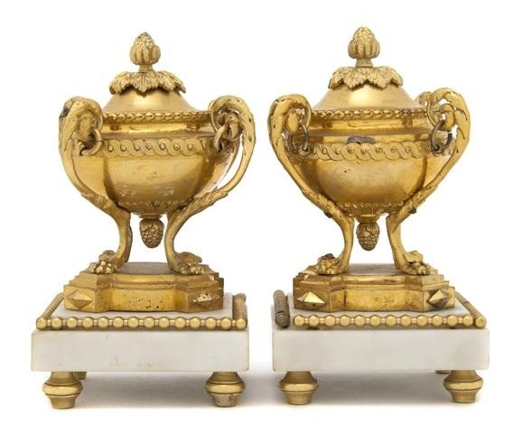 1: A Pair of Louis XVI Style Gilt Bronze and Marble Cas