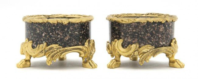 2: A Pair of Continental Gilt Bronze Mounted Marble Sal
