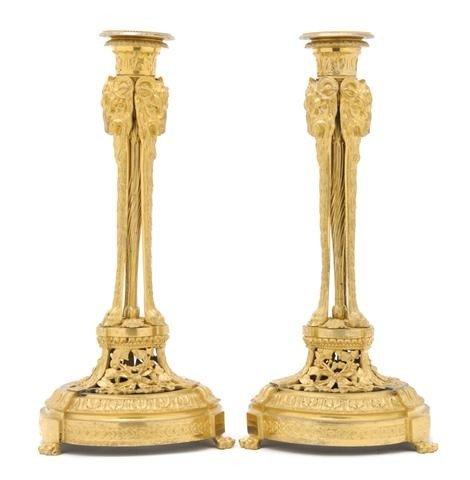 4: A Pair of Neoclassical Gilt Bronze Candlesticks, Hei