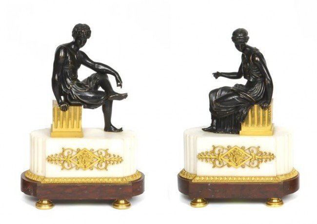 5: A Pair of Neoclassical Patinated and Gilt Bronze Fig