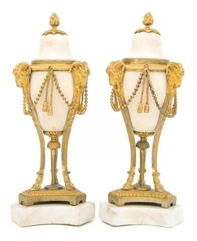 6: A Pair of Neoclassical Gilt Bronze Mounted Marble Ca