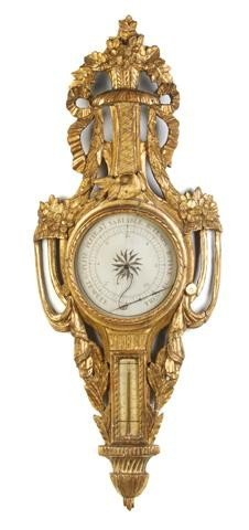 7: A French Giltwood Barometer, Height 39 1/2 inches.