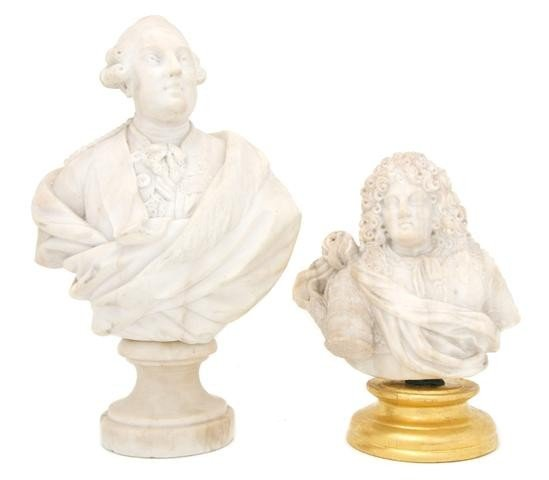 8: A Group of Two Continental Carved Alabaster Busts, H