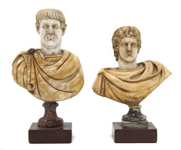 12: Two Carved Marble Busts, Height of taller 8 3/8 inc