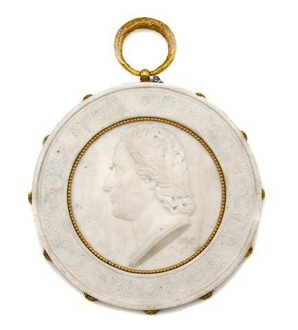 13: An Italian Gilt Bronze Mounted Marble Roundel, Diam