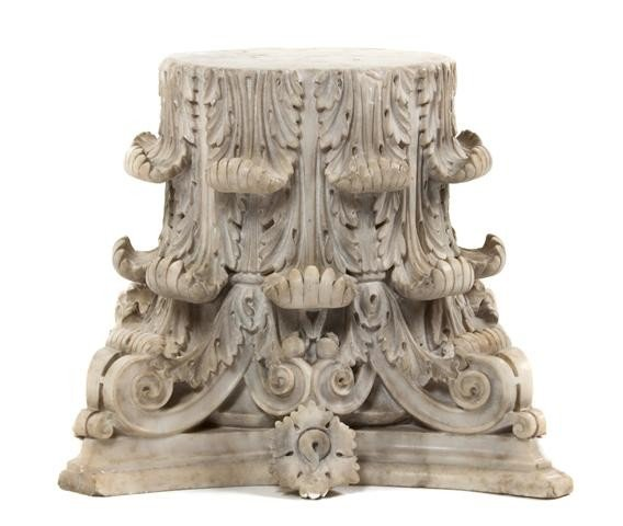 14: A Carved Marble Corinthian Capital, Height 16 inche