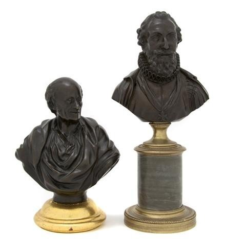 15: Two Continental Patinated Bronze Busts, Height of t