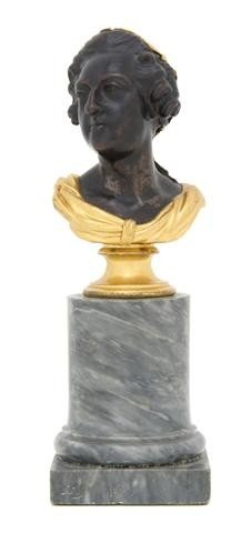 16: A Continental Gilt and Patinated Bronze Bust, Heigh