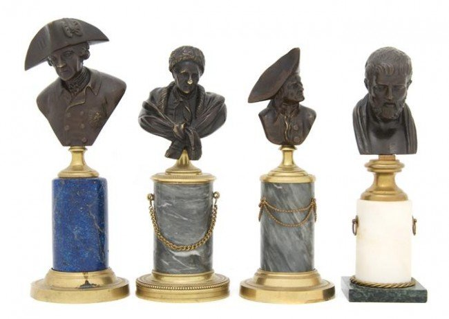 17: A Collection of Four Continental Patinated Bronze B