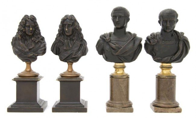 18: Two Pairs of Continental Patinated Bronze Busts, He