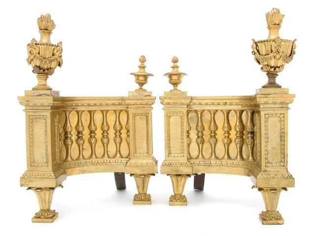 20: A Pair of Louis XVI Style Gilt Bronze Chenets, Heig
