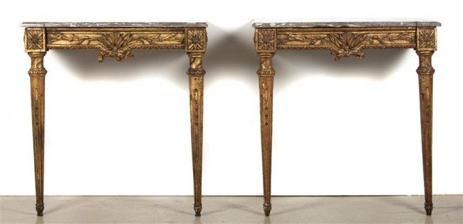 21: A Pair of Louis XVI Style Console Tables, Height 32