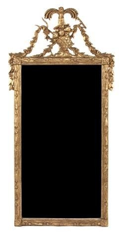 22: A Continental Giltwood Mirror, Height 53 1/2 x widt