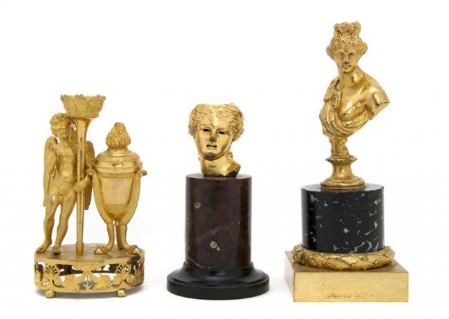 23: A Collection of Three Gilt Bronze Articles, Height