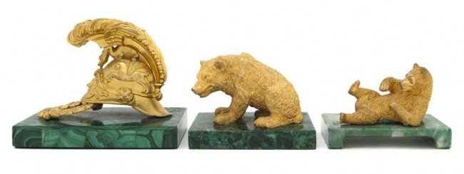 24: A Collection of Three Russian Gilt Bronze and Malac