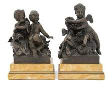 41 Two Continental Patinated Bronze Figural Groups He