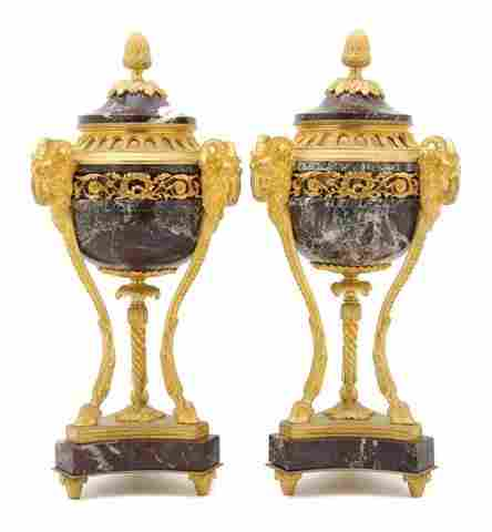 47: A Pair of Neoclassical Gilt Bronze Mounted Marble C