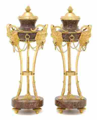 A Pair of Neoclassical Gilt Bronze Mounted Marble C