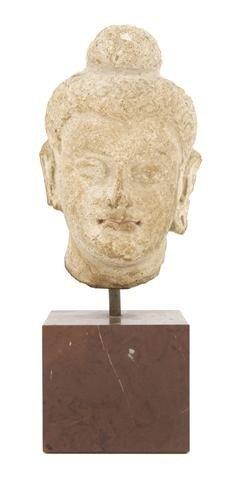156: A Stucco Head of Buddha, Height of head 7 1/2 inch