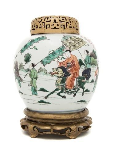 176: A Chinese Famille Verte Ginger Jar, Height 7 3/4 i