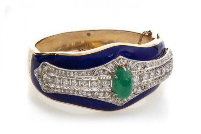 2: A Platinum, 14 Karat Yellow Gold, Emerald Cabochon,
