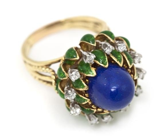 3: An 18 Karat Yellow Gold, Diamond, Lapis Lazuli and E