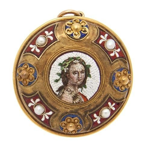 4: A Victorian 18 Karat Yellow Gold, Pearl, Enamel and