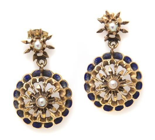 5: A Pair of 14 Karat Yellow Gold, Cultured Pearl and E