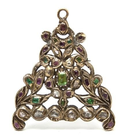 7: A Silver, Diamond, Emerald and Ruby Brooch/Pendant,