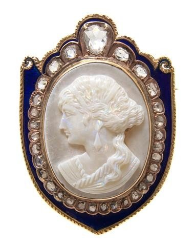 14: A Victorian Yellow Gold, Diamond, Enamel and Carved