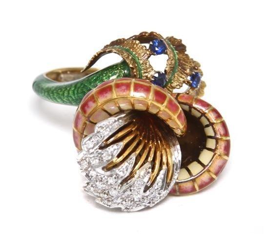15A: An 18 Karat Yellow Gold, Diamond, Sapphire and Pol