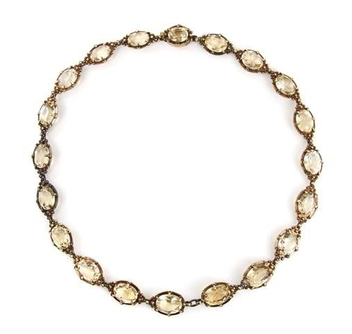 16: A Victorian Yellow Gold and Citrine Necklace, 30.10