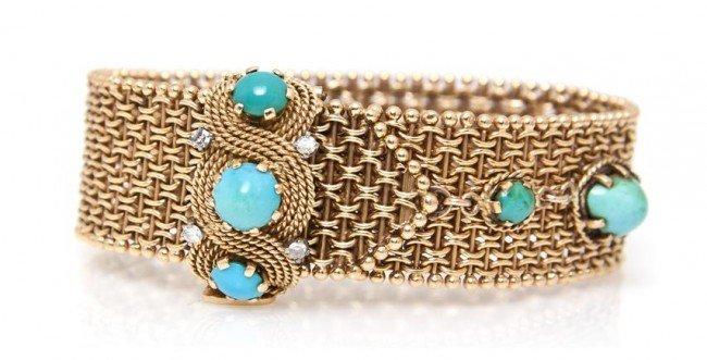 22: A 14 Karat Yellow Gold, Turquoise and Diamond Belt