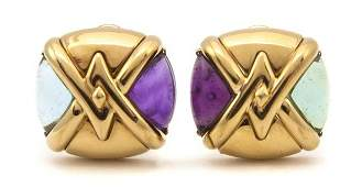 219 A Pair of 18 Karat Yellow Gold Amethyst and Aquam