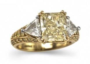 222: An 18 Karat Yellow Gold, Platinum and Fancy Color
