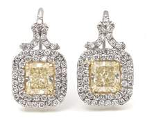 224 A Pair of Platinum 18 Karat Yellow Gold and Fancy