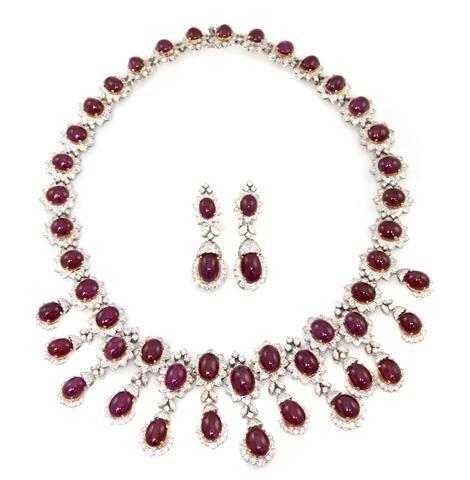 437: A Set of 18 Karat White Gold, Ruby and Diamond Jew