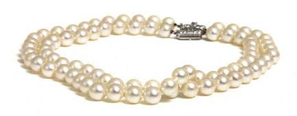 594: A Pair of Single Strand Cultured Pearl Necklaces w