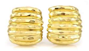 902 A Pair of 18 Karat Yellow Gold Hammered Earclips