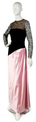 15: A Bill Blass Black Lace and Velvet and Pink Silk Ev
