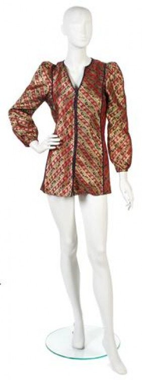 A Thea Porter Couture Red Floral Silk Brocade Jack