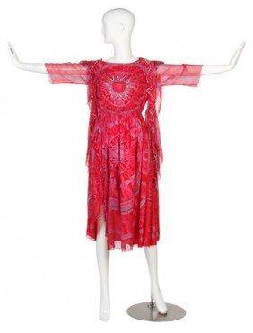 A Zandra Rhodes Coral Silk Chiffon Cocktail Dress,