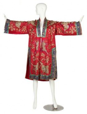 A Red Silk Heavily Embroidered Kimono Style Jacket